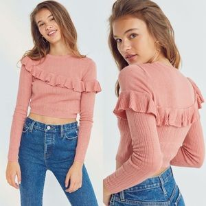 Urban Outfitters Kimchi Blue Ruffle Crop Sweater